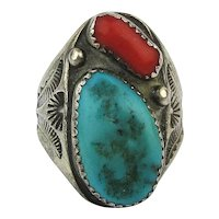 Nice Big Old Navajo Ring - Sterling Silver Turquoise Coral