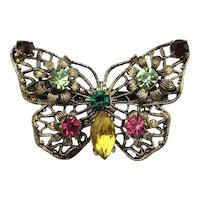Old Czech Filigree Butterfly Pin w/ Rhinestones