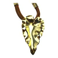 Diane Von Furstenberg DVF Vintage Gilt Leaf Necklace