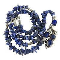 Lovely Lapis Sterling Silver Bead Necklace