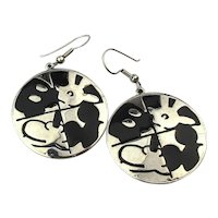 Vintage Mickey Mouse Puzzle Dangle Earrings Enamel on Chrome