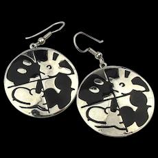 Vintage Mickey Mouse Puzzle Dangle Earrings Enamel on Chrome