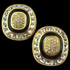 Christian DIOR Faux Gold Diamond Rhinestone Clip Earrings