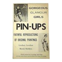 WWII Era 1940s Print Folder of 9 Gorgeous Glamour Girls PIN-UPS