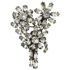 Vintage Clear Rhinestone Flower Trembler Pin Brooch