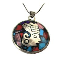 Taxco DELGADO Two-Sided Pendant Necklace Sterling w/ Stone Inlay