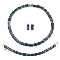 Vintage Stone Inlaid Sterling Silver Set Necklace Bracelet Earrings