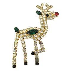 Moving Rhinestone Rudolph the Reindeer Pin Brooch