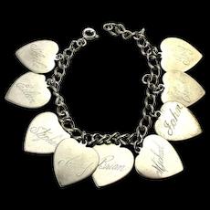 Vintage 1940s Sterling Silver HEART Charms Bracelet