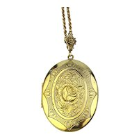 Big Vintage Gilt Locket Old Style w/ More Photo Space Necklace