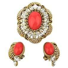 Fancy Faux Pearl Coral Rhinestone Pin Brooch Earrings Set