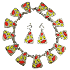 Modernist Stone Filled Necklace Earrings Set - Colorful Glass