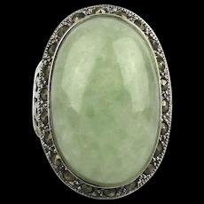 Sterling Silver Marcasite Ring w/ Big Jade Jadeite Stone
