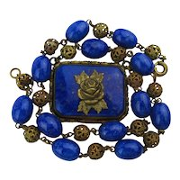 Art Deco Czech Glass Lapis Bead Filigree Brass Necklace