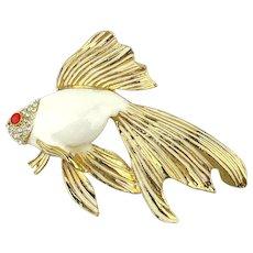 Big Enamel Puffy Fish Pin Brooch Jeweled n Fancy