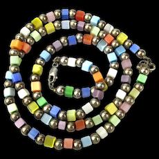 Modernist Necklace Bracelet Set - Sterling Balls n Iridescent Boxes
