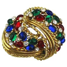 Signed D'ORLAN Rhinestone Jeweled Pin Brooch