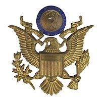 Old Peekskill Military Academy Enamel Brass Eagle Badge