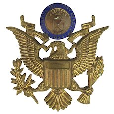 Old Peekskill Military Academy Enamel Brass Eagle Badge