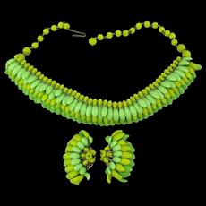 Fun Fab c1940 Kitschy Glass Necklace Earrings Set a la Carmen
