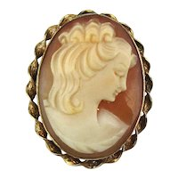 Van Dell Gold-Filled Sweet Pretty Cameo Girl Pin - Pendant Carved Shell