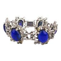 Vintage JUDY LEE Bracelet w/ Electric Blue Glass Stones