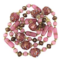 Venetian Art Glass Wedding Cake Bead Necklace - 31 Inches of Gilded Pinks