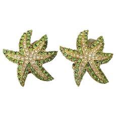 CINER Starfish Rhinestone Clip Earrings
