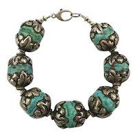 Fat Chunky Heavy Sterling Silver Clad Bead Bracelet