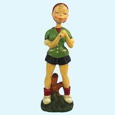 Vintage JAPAN Tall Female Nodder Bobble Head Doll Sports