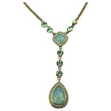 Givenchy Moonstone Crystal Rhinestone Drop Necklace