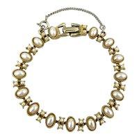 Signed ART Faux Pearl Goldtone Link Bracelet