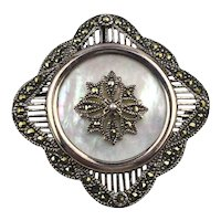 Sterling Silver Marcasite MOP Pin Brooch Pendant