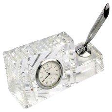 Vintage WATERFORD Crystal Desk Clock Pen Holder