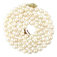 Estate Akoya Pearl Necklace w/ 14k Gold Clasp