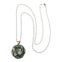 Old Mexican Sterling Silver Abalone Bell Ball Pendant Necklace