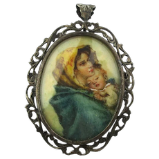 Victorian Miniature Handpainted Portrait Pendant / Pin 800 Silver Filigree Mother and Child
