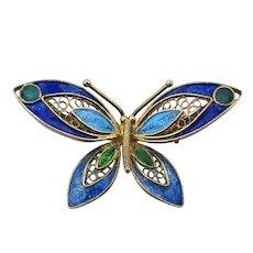 Italian 800 Silver Filigree Enamel Butterfly Pin Brooch
