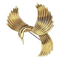 Krementz Gold-Filled Flying Bird Pin Brooch