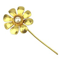 Long Stem Gilded Daisy Flower w/ Mabe Pearl
