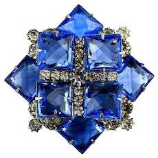 Stacked Vintage Blue Rhinestone Pin Big Stones Big Wow Factor