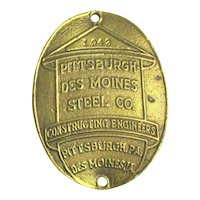 1942 Pittsburgh Des Moines Steel Co. Bronze Sign