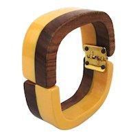 Bakelite n Wood Hinge Clamper Bracelet