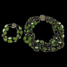 Designer Swarovski Crystal Necklace Bracelet Set