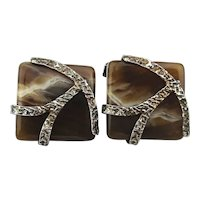 Great Vintage Mens Sterling Silver Agate Cufflinks