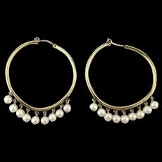 Vintage Gold-Filled Hoop Earrings w/ Faux Pearl Dangles
