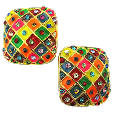 Signed Mexican Colorful Clip Earrings Enamel Boxes w/ Rhinestones