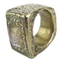 Designer Odd Sterling Silver Ring w/ Crystals Sprinkles Rhinestones