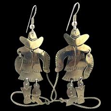 Yeehaw Sterling Silver Cowgirl Dangle Earrings Lasso Jumper