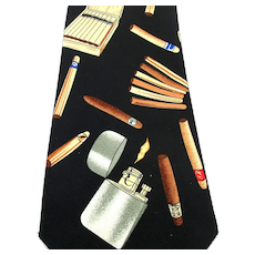 Vintage Signed Handmade Neck Tie Cigar Smoking Lighter